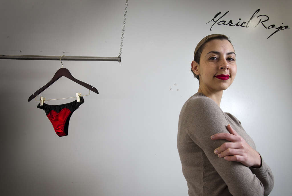 ALEJANDRO A. ALVAREZ / STAFF PHOTOGRAPHER Lingerie designer Mariel Rojo creates each of her pieces by hand and sells them online and at a co-op on Arch Street near 3rd in Old City.