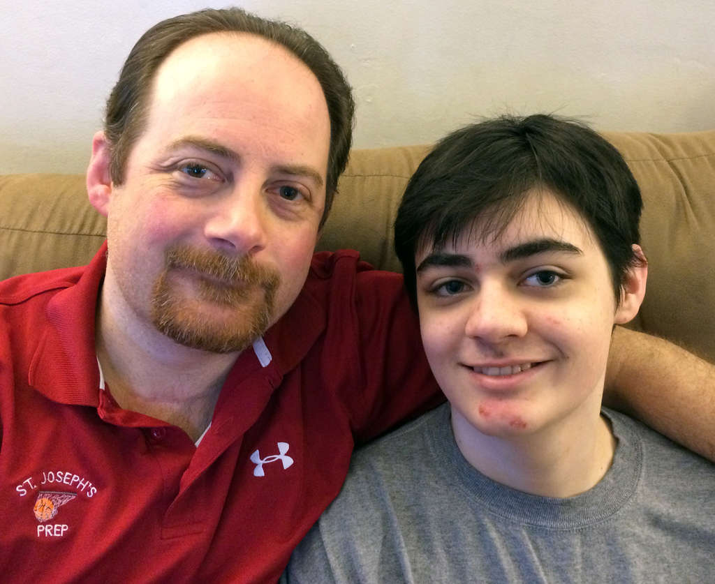 Joe Nawn , assistant bowling coach at St. Joseph´s Prep, with his 16-year-old son, Joseph, who persuaded his father to compete for the second consecutive year in the USBC Masters.                MARY NAWN