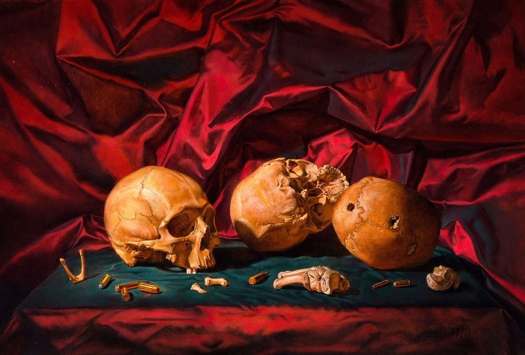 "Martha Mayer Erlebacher´s ""War Game,"" oil on canvas, 2010, a memento mori of bullet-pierced skulls. A memorial show is at Woodmere."