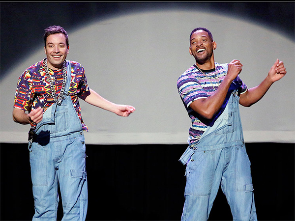 "Jimmy Fallon (left) and Will Smith in an episode from the first ""Tonight Show Starring Jimmy Fallon."" (Lloyd Bishop / NBC)"