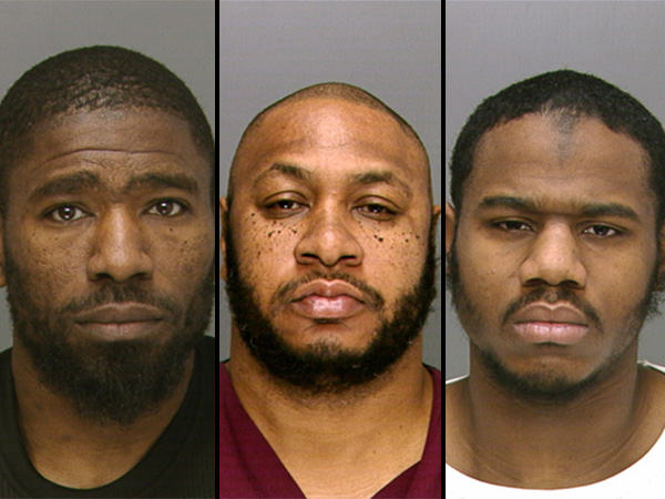 Three of the four men charged with attempted murder and witness intimidation in the 2010 shooting: from left, Aki Jones, Troy Cooper and Shaheed Williams. The fourth man facing charges is Charles Alexander, who is not pictured. (Source: Philadelphia Police Department)
