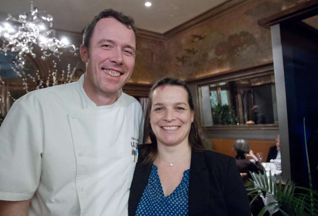 Chef Pierre Calmels and his wife, Charlotte, in their rambling new restaurant in the Philadelphia Art Alliance. They also own Bibou in South Philadelphia. They discuss Le Chéri at www.inquirer.com/labanreviews.
