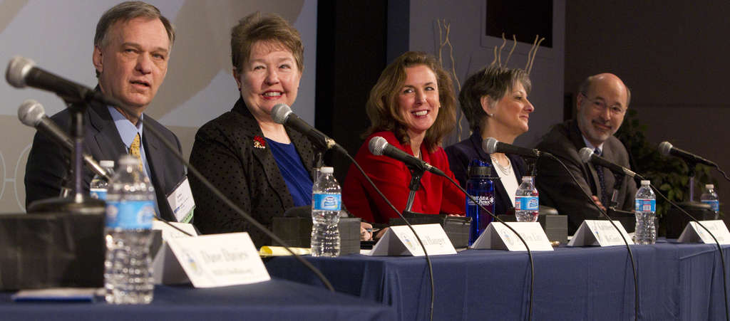 Five of the seven Democrats hoping to unseat Gov. Corbett gathered at a forum at the WHYY studios in Philadelphia. From left, John Hanger, Jo Ellen Litz, Kathleen McGinty, Allyson Schwartz, and Tom Wolf.