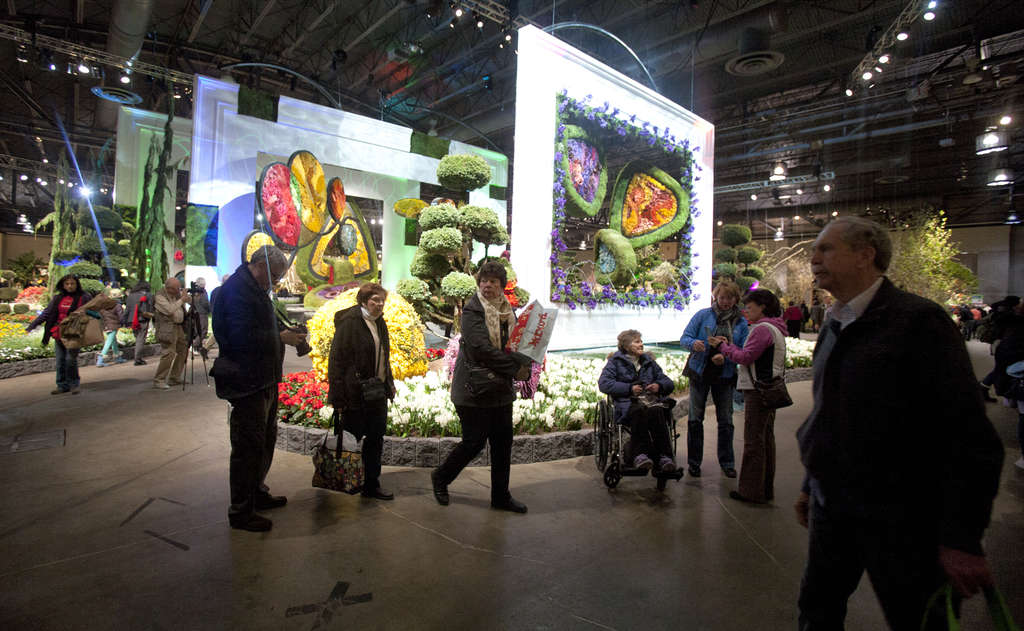 Attendance was down at the Philadelphia Flower Show after a forecast of heavy snow, but not as dramatically as happened after some past forecasts that never came to pass. Discounted admission may have helped with that.