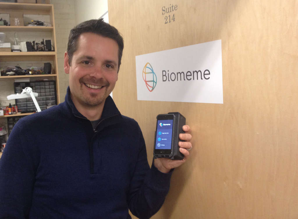 MICHAEL HINKELMAN / DAILY NEWS STAFF Max Perelman, co-founder of Biomeme, says their phone-based test kits will enable doctors to get nearly instant lab results. The company moved to Philly from New Mexico because of DreamIt Ventures.