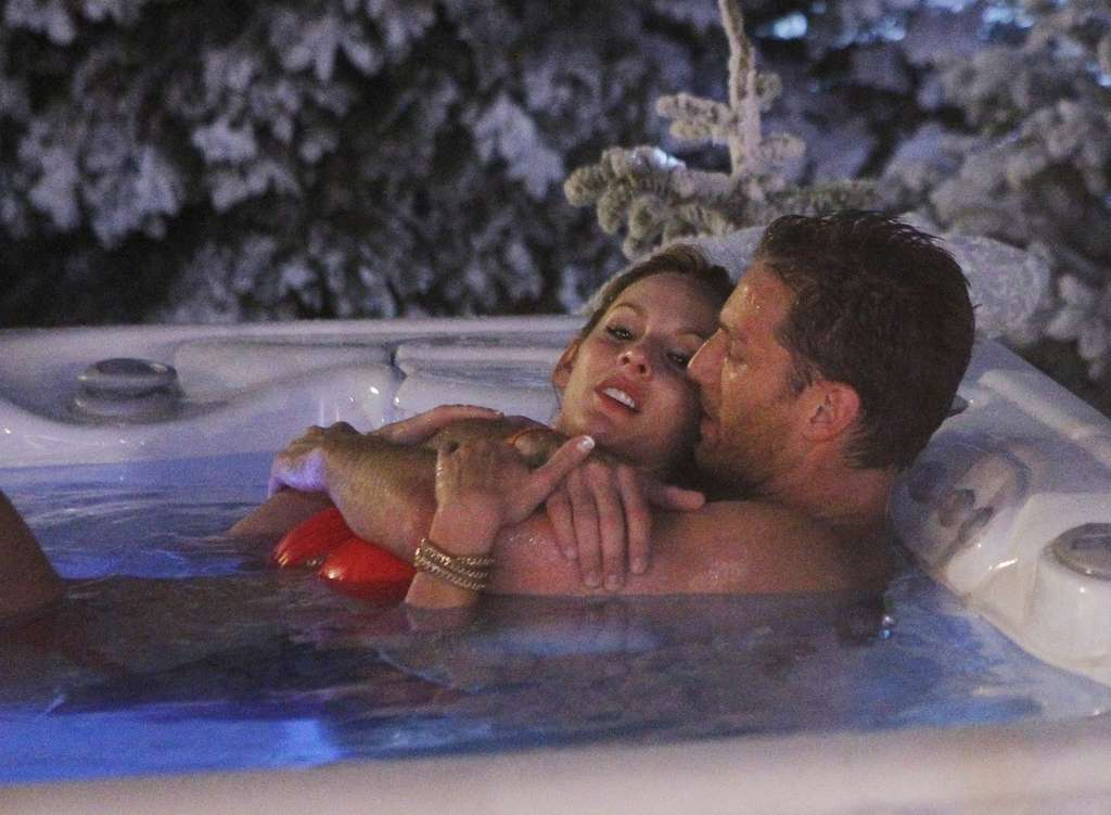 "Juan Pablo and Clare spend part of a romantic evening in a hot tub on ""The Bachelor."""