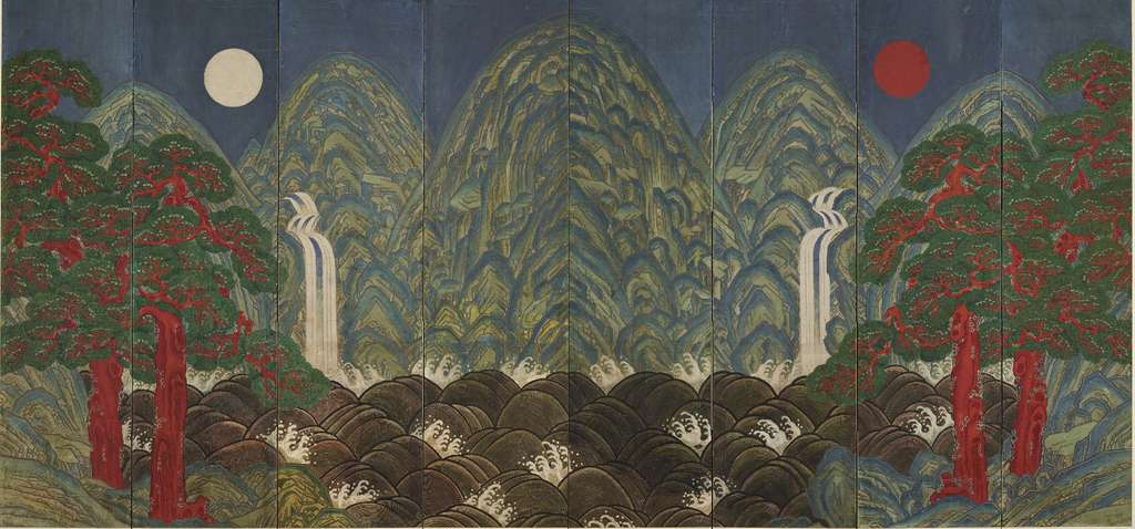 """""""Sun, Moon and Five Peaks,"""" an eight-fold screen, expresses sublime harmony, tranquility, and existential truth."""