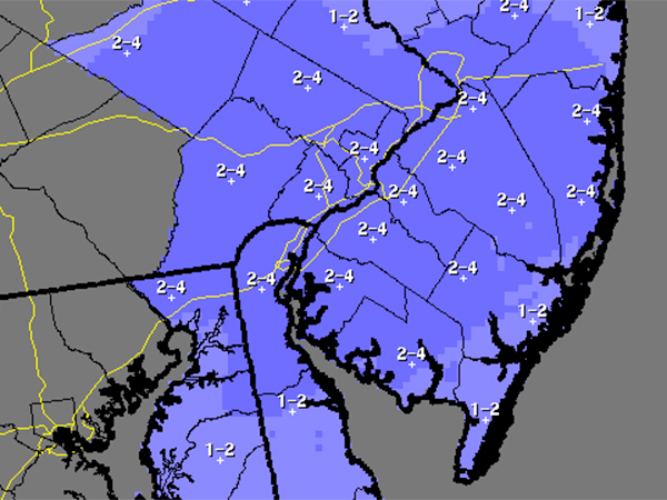 This National Weather Service map, updated on 4 p.m. Monday, shows expected snowfall totals for the Philadelphia region for Tuesday into Wednesday.