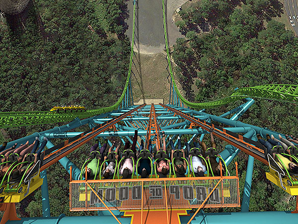 A rendering of the world's tallest drop ride, Zumanjaro: Drop of Doom, slated to open Memorial Day weekend at Six Flags Great Adventure. The Kingda Ka roller coaster winds around the drop ride.