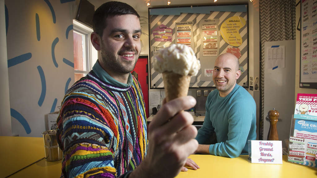 ALEJANDRO A. ALVAREZ / STAFF PHOTOGRAPHER Peter Angevine (left) and Martin Brown of Little Baby´s at their Kensington ice-cream shop.