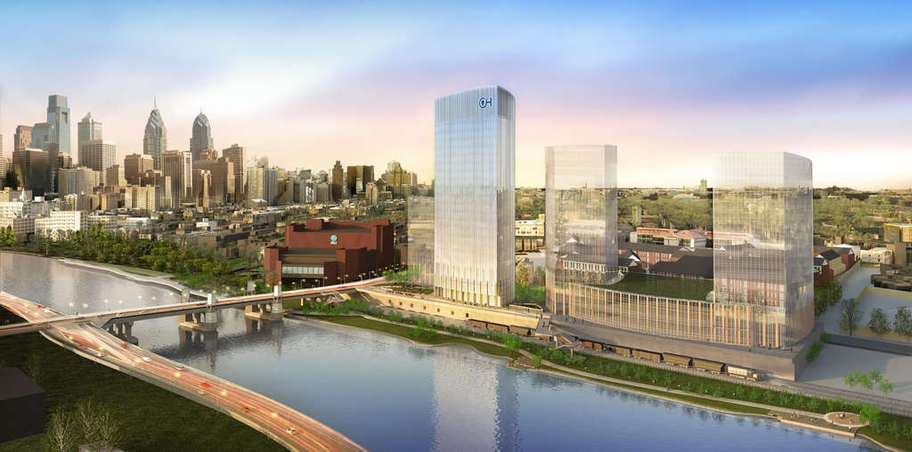 plans a research campus on the Schuylkill´s east bank comprising a cluster of towers atop a garage podium stretching the equivalent of four city blocks. Children´s Hospital of Philadelphia