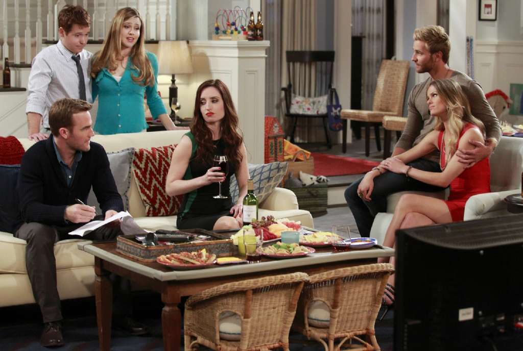 """The cast of """"Friends with Better Lives"""" (from left) James Van Der Beek (seated), Kevin Connolly, Majandra Delfino, Zoe Lister-Jones, Rick Donald, and Brooklyn Decker."""