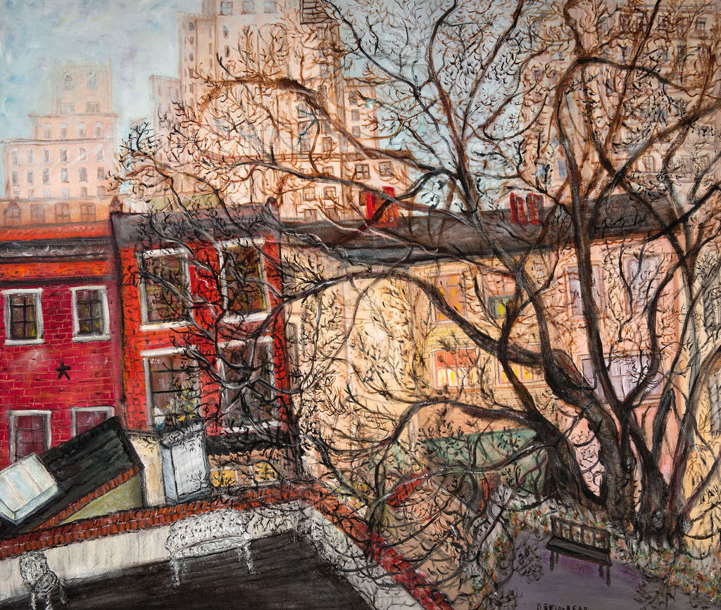 """""""Untitled (Cityscape)"""" by Jessie Drew-Bear, from 1960, is in """"Jessie Drew-Bear: Stories and Dreams"""" at the Woodmere Art Museum through July 13. She studied with Arthur B. Carles, and briefly, with Fernand Léger, but was largely self-taught."""