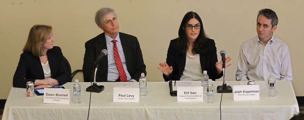 A Free Library panel (from left) Dawn Bonnell, Penn´s vice provost for research; Paul Levy, Center City District; Elif Sen of Philadelphia Fed; and Josh Kopelman from First Round Capital.