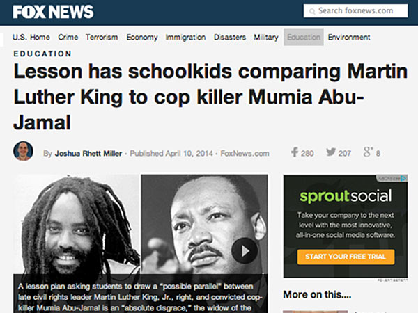 FoxNews.com reported Thursday that a lesson plan asking Oakland Area School District students to draw parallels between late civil rights leader Martin Luther King Jr. and convicted cop-killer Mumia Abu-Jamal. But the school district told Philly.com the lesson hadn´t been taught since 2004.