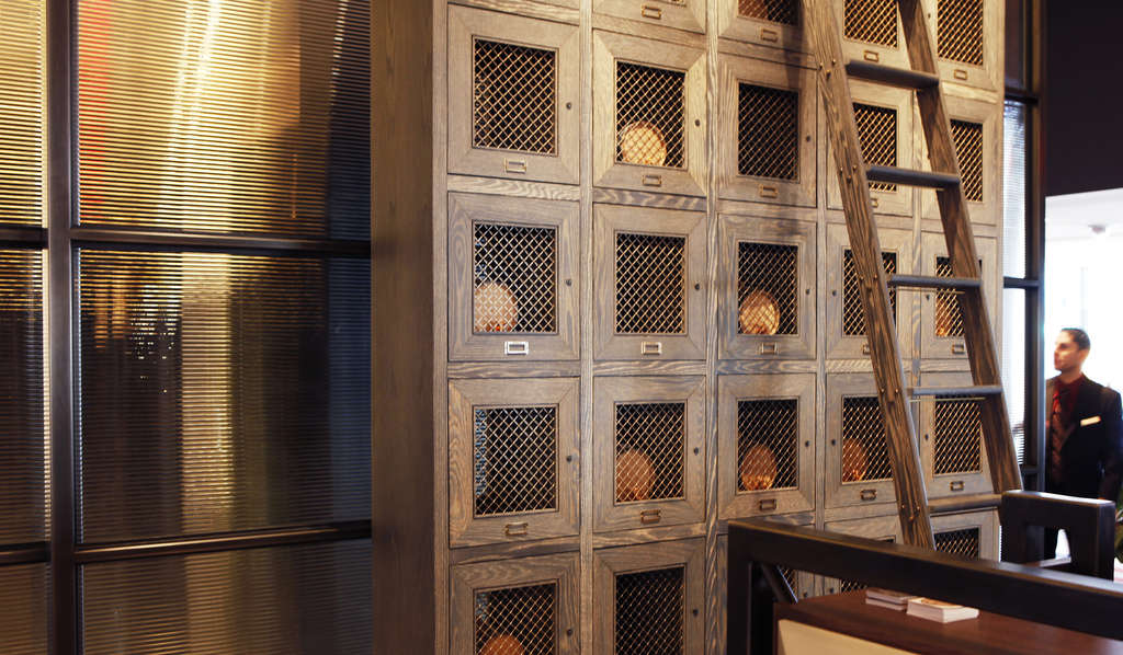 Private bourbon locker at the new Bank & Bourbon restaurant in the Loews Philadelphia. A barrel-aging program allows customers to blend their own.