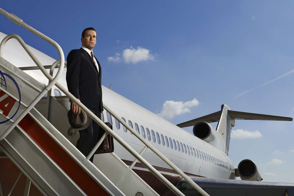 """In the final-season premiere of """"Mad Men,"""" Don Draper (Jon Hamm), on indefinite leave, jets off to L.A. to see whether he can salvage his second marriage."""