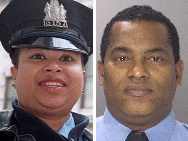 Former Police Lt. Aisha Perry (left) and former Officer George Suarez are accused in Common Pleas Court of theft of services and related charges. Prosecutors say they siphoned off electricity, gas, and water service.
