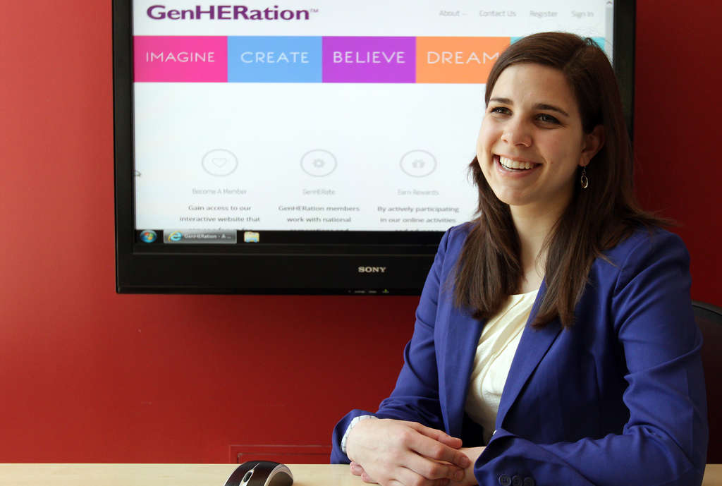 DAVID MAIALETTI / STAFF PHOTOGRAPHER Katlyn Grasso , 20, is the founder and CEO of GenHERation, a startup that empowers young girls.