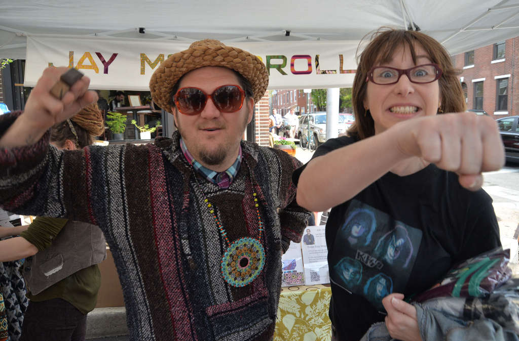 "On the run ""ProjectRunway"" winner, designer Jay McCarroll, was spotted Saturday at East Passyunk´s Flavors of the Avenue and the Crafty Balboa craft show with his first model from 2000, Andrea Fleegle."