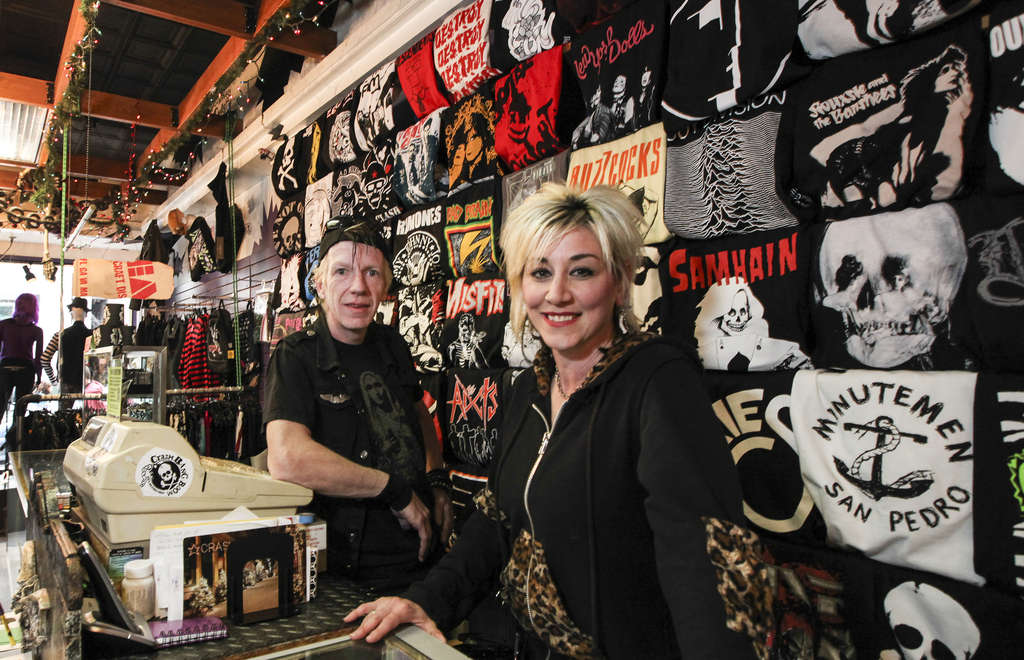 STEVEN M. FALK / STAFF PHOTOGRAPHER Robert Windfelder and Stefanie Jolles own Crash Bang Boom. The boutique, on 4th Street near South, sells punk fashions and accessories for both men and women in-store and online.