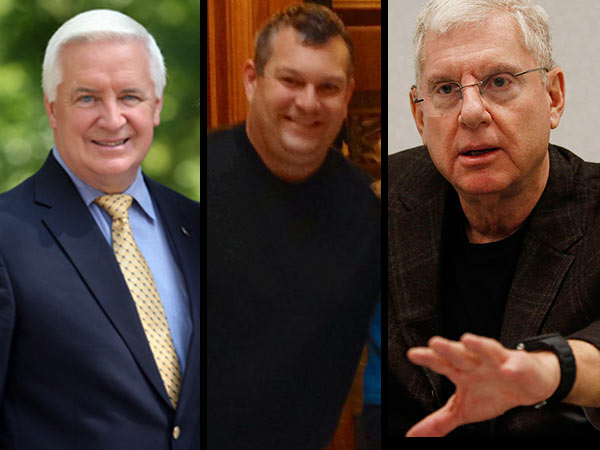 From left, Gov. Tom Corbett, who is seeking reelection; Scott Migli, former executive director of the Pennsylvania GOP; and Bob Guzzardi, who sought to challenge Corbett in GOP primary but was thrown off the ballot.