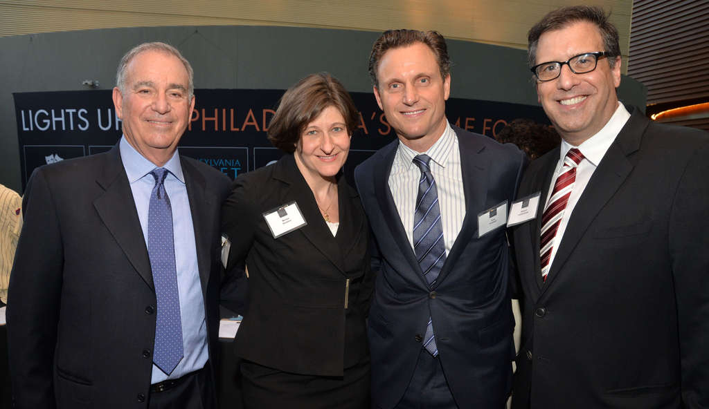 "HUGHE DILLON / FOR THE DAILY NEWS Actor Tony Goldwyn (second from right), of TV´s ""Scandal"" fame, celebrates the fifth anniversary of the Pennsylvania Innocence Project on Tuesday with executive director Richard Glazer (left), legal director Marissa Boyers Bluestine and screenwriter/director Richard LaGravenese."