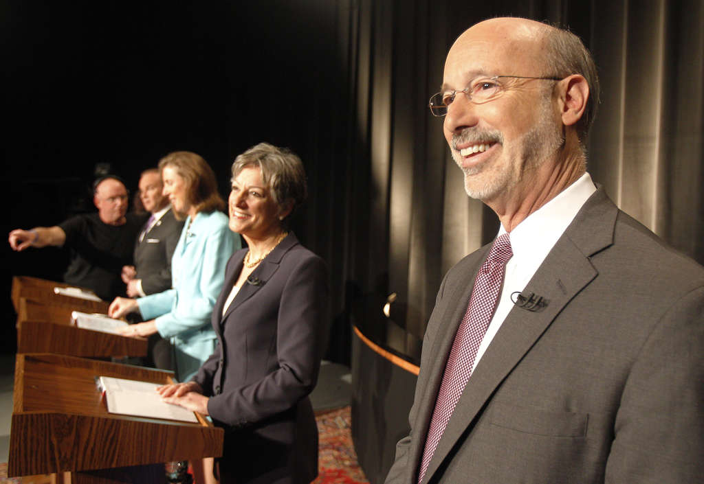 Democratic primary candidates for governor Tom Wolf (from right), Allyson Schwartz, Katie McGinty and Rob McCord tape a debate yesterday. It airs on 6ABC at 5 p.m. tomorrow and 1 p.m. Sunday. The primary is May 20.