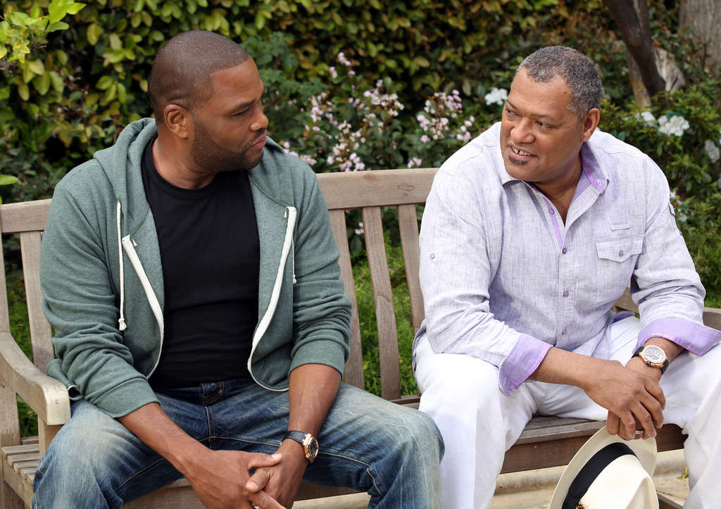 """Anthony Anderson (left), Laurence Fishburne as son and father in the comedy """"Black-ish,"""" about parents worried about too much suburban assimilation."""