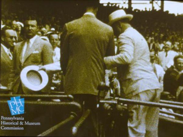 A still from the video of President Franklin Delano Roosevelt at the 1937 All Star Game at Griffith Stadium in Washington, D.C. (Source: Pennsylvania Historical & Museum Commission)