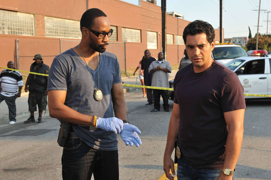 """RZA (left) and Ramon Rodriguez in ´s """"Gang Related."""" RZA sees the show providing an economic boost to the poorer Los Angeles neighborhoods where it is shot. Fox"""
