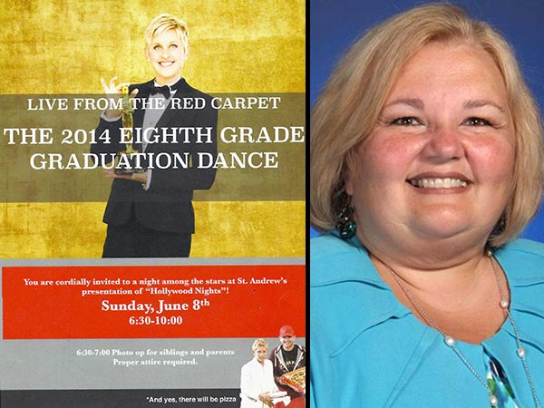 Ellen DeGeneres graced invitations for the eighth grade graduation dance at St. Andrew Catholic Elementary School in Newtown, but principal Nancy Matteo has apologized to parents and ordered them returned so she can destroy them.