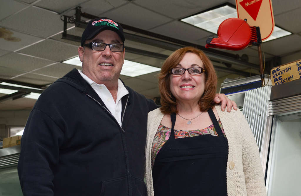 ANDREW THAYER / STAFF PHOTOGRAPHER Janet Stechman and her brother, Salvatore Anastasi, run Anastasi Seafood in the Italian Market. The business recently expanded its restaurant menu and seating, and is now offering deliveries.