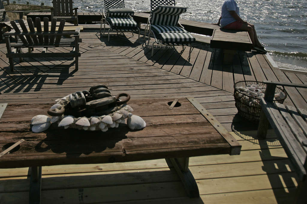 A pre-Sandy view of the deck at John and Gretchen Coyle´s home in Beach Haven.