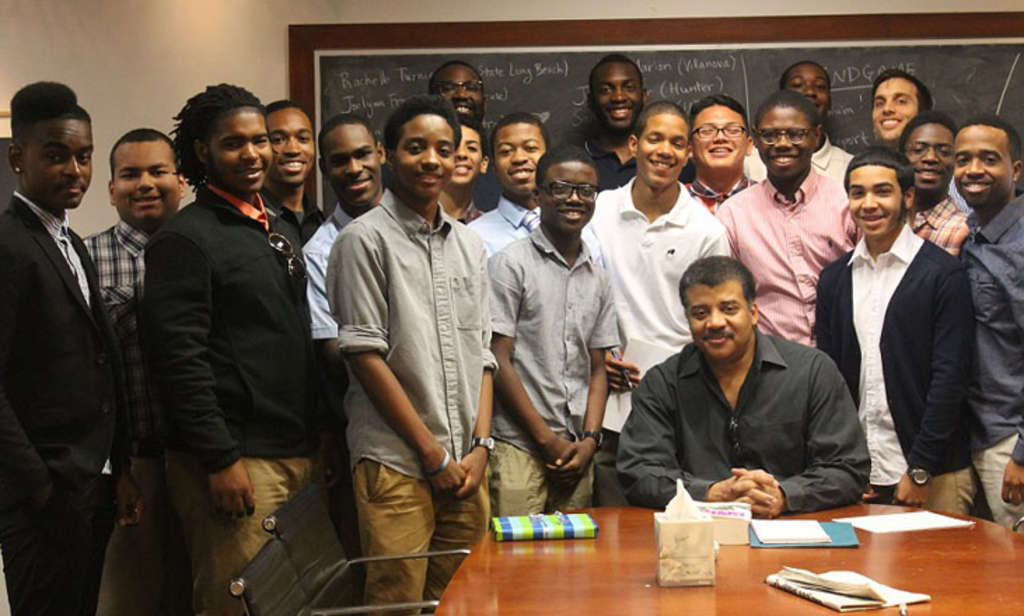 "Astrophysicist and host of Fox´s ""Cosmos"" Neil deGrasse Tyson met with students from Philadelphia Futures on Friday at his office in New York City."