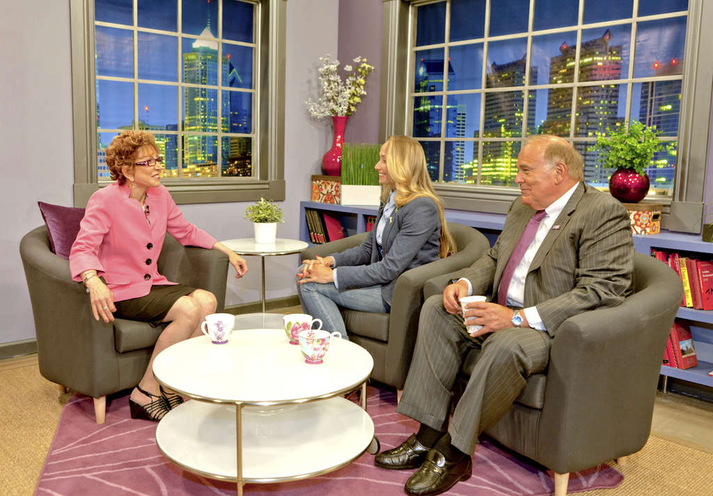 """Former Gov. Ed Rendell commissioned Philly artist Caryn Kunkle (center) to do a portrait of Bill and Hillary Clinton. They discuss it here on """"Power Your Life with Dr. Jo Anne White."""""""