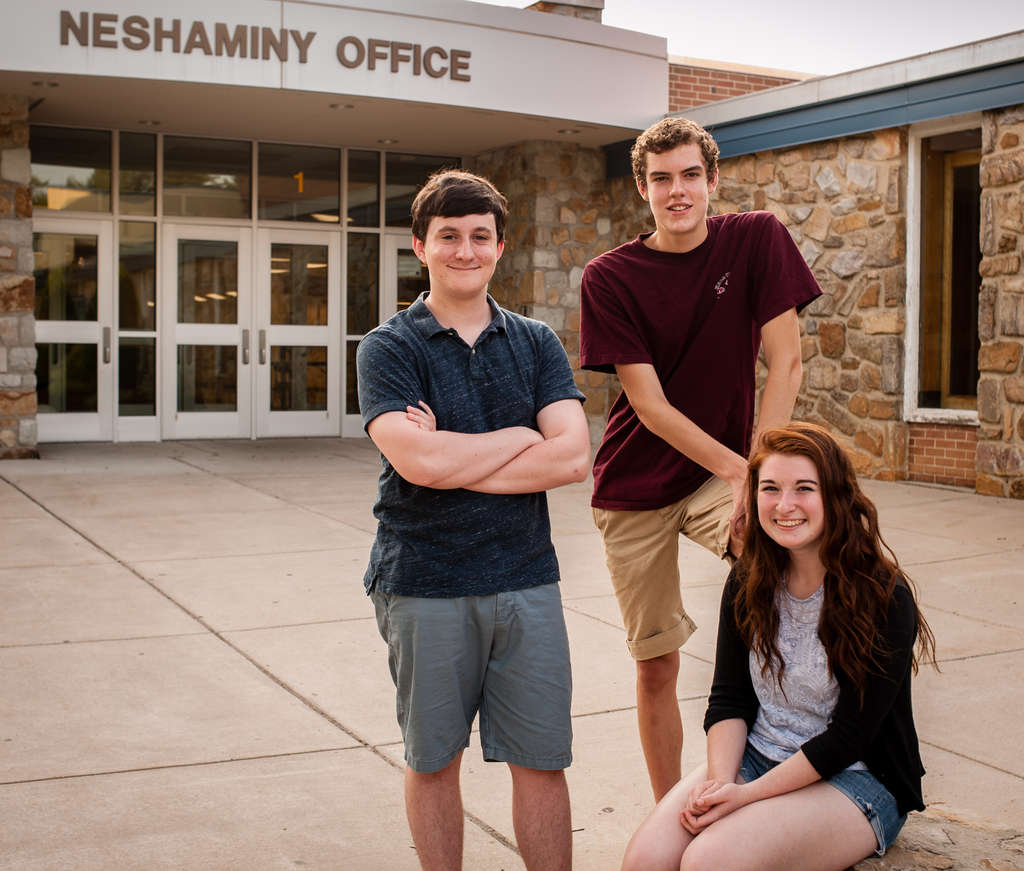 Neshaminy High School newspaper editors (from left) Reed Hennessy, Jackson Haines, and Gillian McGoldrick, all rising seniors, have fought use of the mascot´s name in the paper.