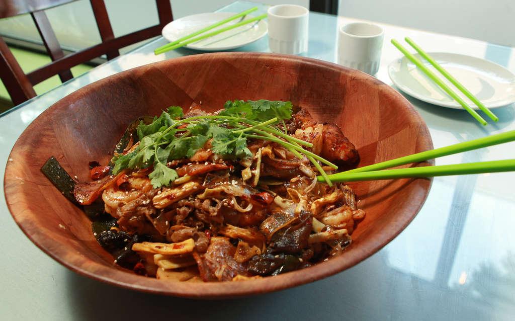 Spicy stir-fry bowl at Sakura Mandarin.