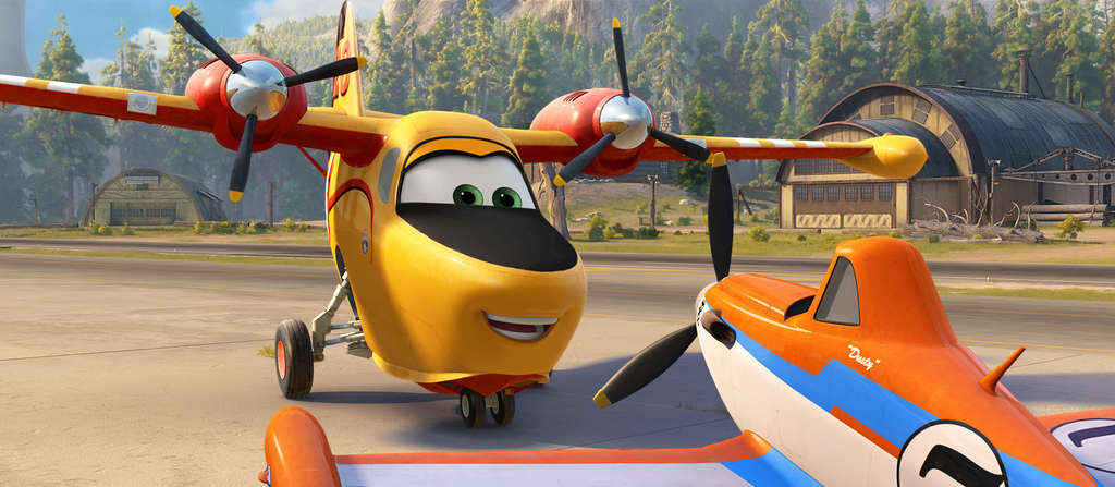 "Coming to a playset near you: Lil´ Dipper (left, voiced by Julie Bowen) and Dusty (Dane Cook) are part of the anthropomorphic aerial firefighting crew winging it in ""Planes: Fire & Rescue."""