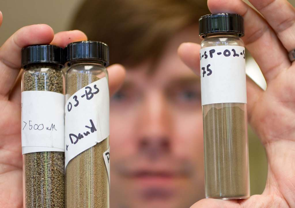 Peterson, who recently received a master´s in geology from Temple, holds soil samples from Fairmount Park, which had lead levels higher than the region´s norm.
