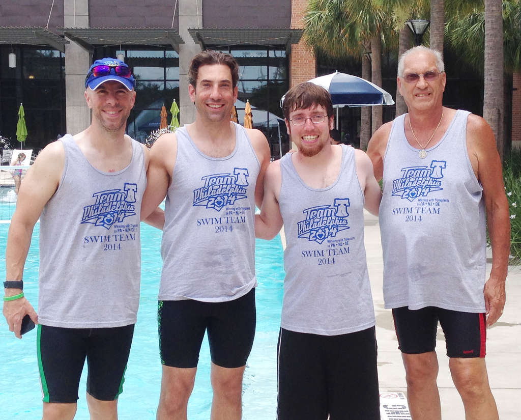 All smiles at the Transplant Games of America (from left): Derek Fitzgerald, Jim Melwert, Kyle Atras and Bert Fox.
