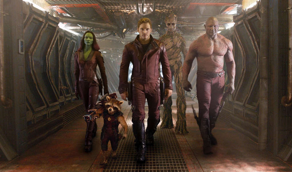 "Chris Pratt (front) leads a ragtag band that includes Zoe Saldana (left) in ""Guardians of the Galaxy."""