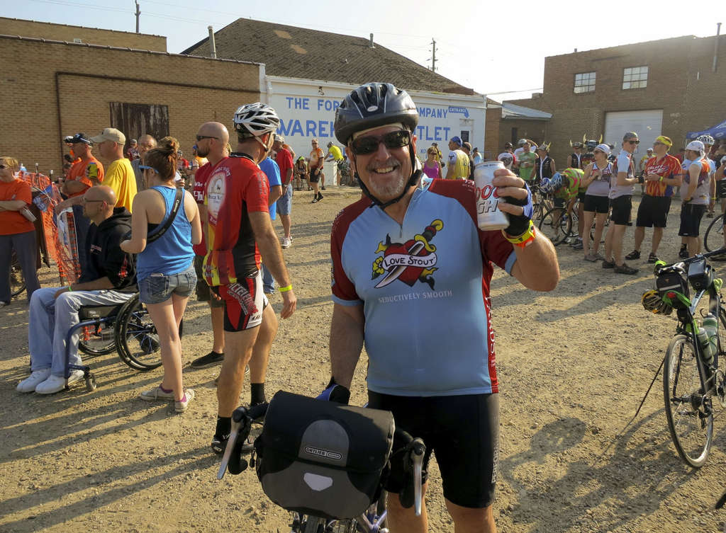 TED MATHER / FOR THE DAILY NEWS Joe has his first - and last - mainstream brew as he prepares to set off on the RAGBRAI trail.