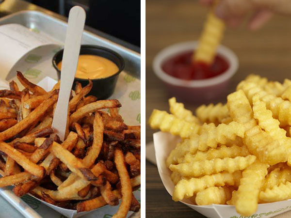Hand-cut Shake Shack fries, at left, will be discontinued in favor of crinkles.