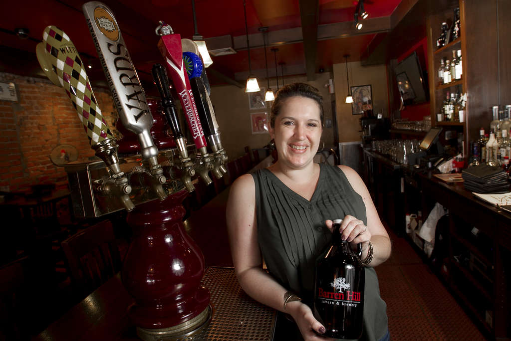 ALEJANDRO A. ALVAREZ / STAFF PHOTOGRAPHER Erin Wallace, owner of the Devil´s Den tavern, is a true sour-beer aficionado and host of the Sour Fest.