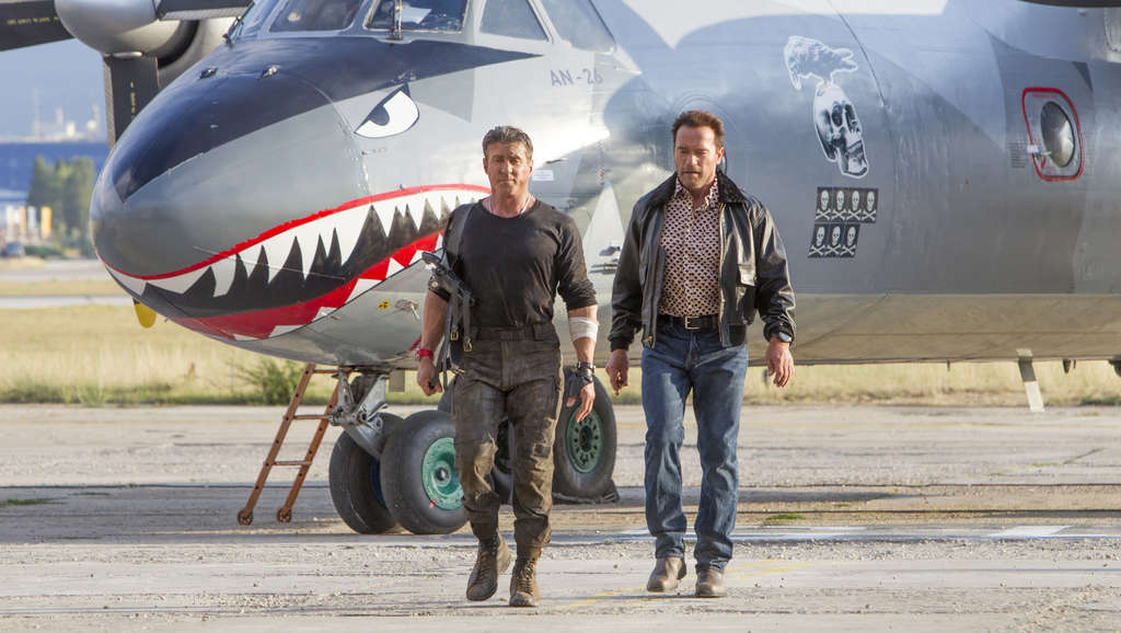 """Expendables"" franchise developer Sylvester Stallone (left) as Barney Ross, top dog of the off-the-books CIA squadron, and Arnold Scwarzenegger as the mercenary Trench."