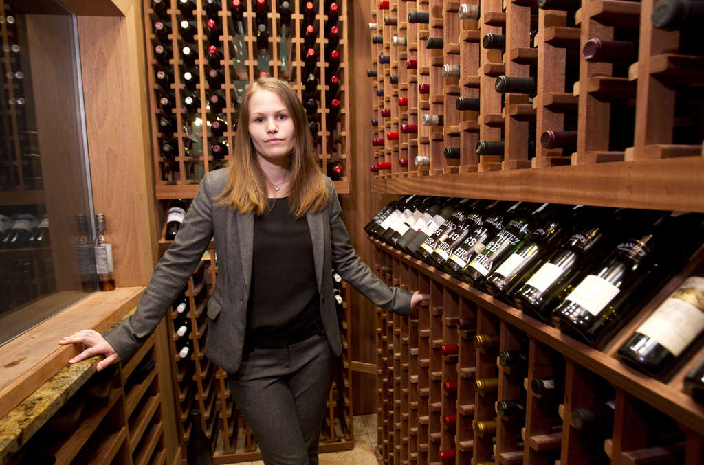 Alexandra Cherniavsky, sommelier at Avance, in the smaller domestic wine cellar just off the dining room.