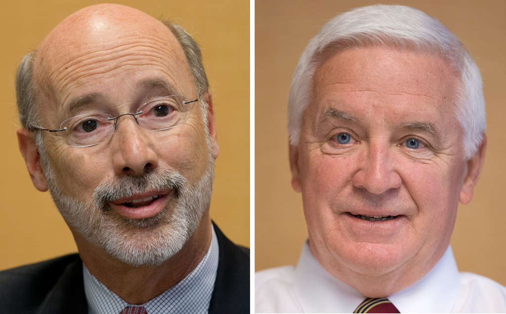 ASSOCIATED PRESS The candidates (Wolf, left; Corbett, right) have widely differing views on taxes, each view presenting its holder with voter risks.