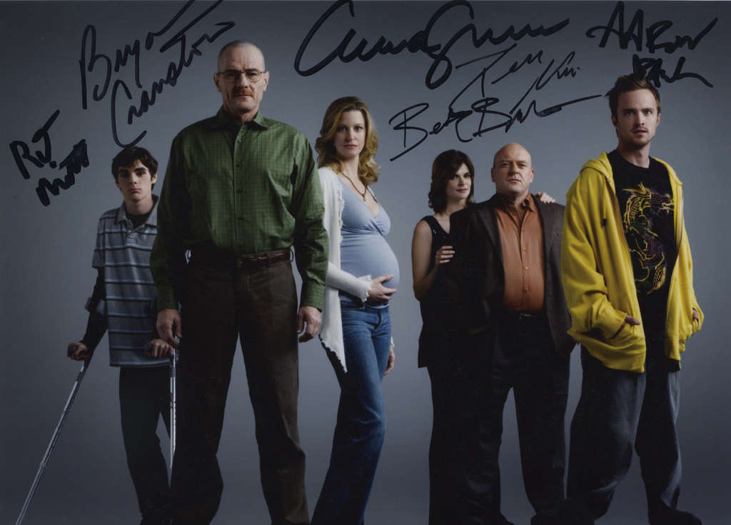 """This is the autographed """"Breaking Bad"""" cast photo that actor Bryan Cranston (Walter White) sent to real high-school teacher Brian Cranston, of Medford, N.J."""