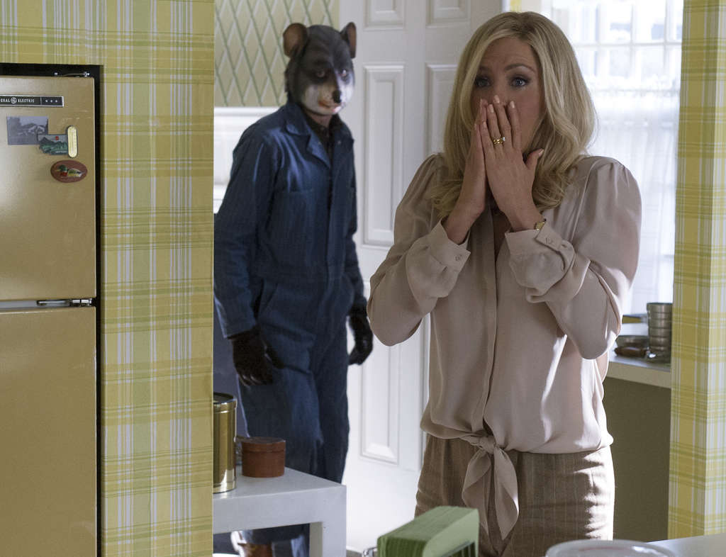 "Eeek, a . . . mouse?: John Hawkes as an inept kidnapper and Jennifer Aniston as the trophy-wife victim in ""Life of Crime."""